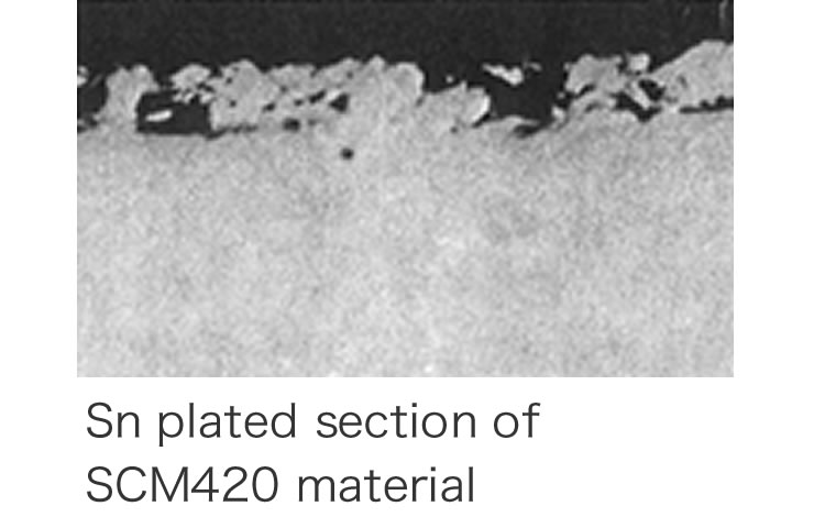 Photographs of metallography after WPC processing and precision shot peening (machine parts, cutting tools, molds)
